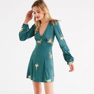 Urban Outfitters green floral boho mini dress